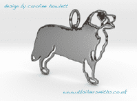 Bernese Mountain dog with markings pendant  necklace sterling silver handmade